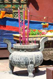 photo,material,free,landscape,picture,stock photo,Creative Commons,A PutuoZongchengTemple incense holder, Tibet, Chaitya, tripod, incense stick
