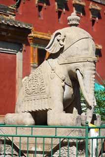 photo,material,free,landscape,picture,stock photo,Creative Commons,A XumiFushouTemple elephant image, An elephant, An elephant, monument, Tibetan Buddhism