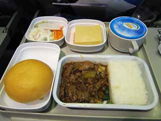 photo,material,free,landscape,picture,stock photo,Creative Commons,An in-flight meal, Rice, Salad, cake, Mineral water