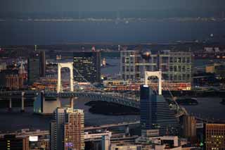 photo,material,free,landscape,picture,stock photo,Creative Commons,Odaiba, Rainbow Bridge, Building group, newly developed city center, Fuji TV