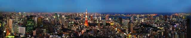 photo,material,free,landscape,picture,stock photo,Creative Commons,Dusk of Tokyo, Tokyo Tower, Building group, The downtown area, high-rise building