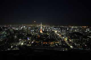 photo,material,free,landscape,picture,stock photo,Creative Commons,A night view of Tokyo, Tokyo Tower, Building group, The downtown area, high-rise building