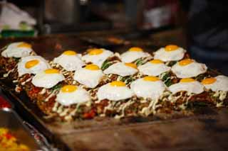 photo,material,free,landscape,picture,stock photo,Creative Commons,A stand of the okonomiyaki, fried egg, Okonomiyaki, fair, Mayonnaise