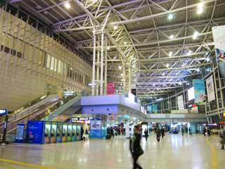 photo,material,free,landscape,picture,stock photo,Creative Commons,Seoul Station, Large space, steel frame, trip, railroad