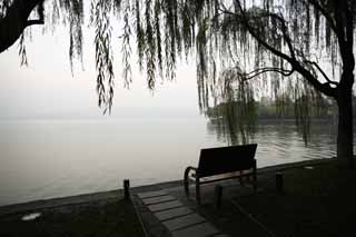 photo,material,free,landscape,picture,stock photo,Creative Commons,Xi-hu lake, surface of a lake, , willow, bench