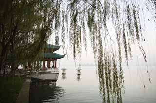 photo,material,free,landscape,picture,stock photo,Creative Commons,Xi-hu lake, surface of a lake, Saiko, willow,