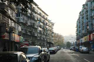 photo,material,free,landscape,picture,stock photo,Creative Commons,Row of houses along a city street of Hangzhou, An apartment, Multifamily housing, Laundry, window