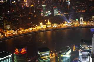 photo,material,free,landscape,picture,stock photo,Creative Commons,A night view of Shanghai, superb view, I light it up, band, skyscraper