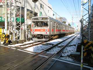 photo,material,free,landscape,picture,stock photo,Creative Commons,Tokyu Ikegami line, Snow, train, track, Gotanda