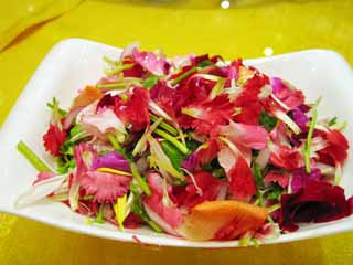 photo,material,free,landscape,picture,stock photo,Creative Commons,Flower salad, flower, Pink, petal, Chinese food