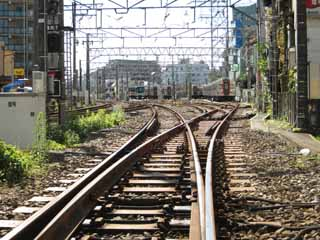 photo,material,free,landscape,picture,stock photo,Creative Commons,Tokyu Ikegami line, railroad, track, train, vehicle