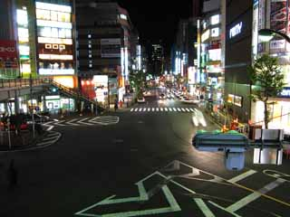 photo,material,free,landscape,picture,stock photo,Creative Commons,A night view of Gotanda, Neon, signboard, signal, crossing