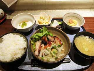 photo,material,free,landscape,picture,stock photo,Creative Commons,A teriyaki set meal, Japanese food, Miso soup, Polished rice, Pork