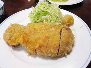 photo,material,free,landscape,picture,stock photo,Creative Commons,A fried pork cutlet, Pork, Deep-fried food, cabbage, cutlet
