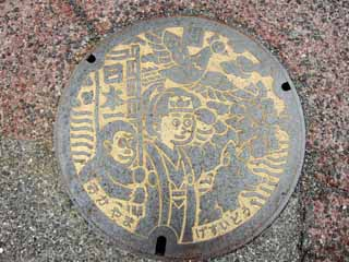 photo,material,free,landscape,picture,stock photo,Creative Commons,Momotaro manhole, The sewer, Taro Momo, folktale, old tale