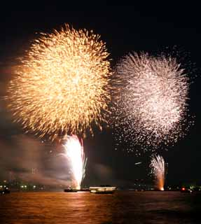 photo,material,free,landscape,picture,stock photo,Creative Commons,Tokyo Bay Great Fireworks, firework, night, launch, one-foot firework ball