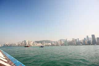 photo,material,free,landscape,picture,stock photo,Creative Commons,Hong Kong Island, high-rise building, The sea, ship,