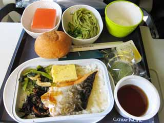 photo,material,free,landscape,picture,stock photo,Creative Commons,An in-flight meal, salmon, Soba, Bread,