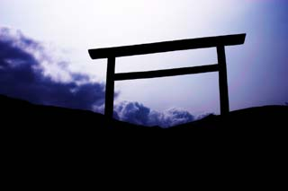 photo,material,free,landscape,picture,stock photo,Creative Commons,Fantasy of a torii, torii gate, cloud, sky, island