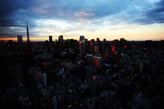 photo,material,free,landscape,picture,stock photo,Creative Commons,Tokyo sunset, building, The downtown area, Tokyo Tower, Toranomon
