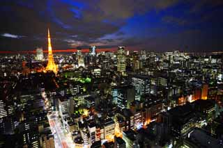 photo,material,free,landscape,picture,stock photo,Creative Commons,Tokyo night view, building, The downtown area, Tokyo Tower, Toranomon