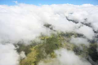 photo,material,free,landscape,picture,stock photo,Creative Commons,Hawaii Island aerial photography, cloud, forest, grassy plain, airport