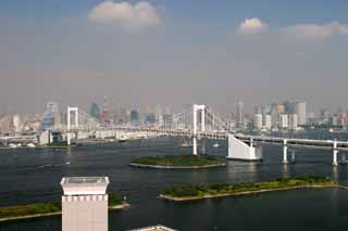 photo,material,free,landscape,picture,stock photo,Creative Commons,Tokyo viewed from Odaiba, Rainbow Bridge, Tokyo Tower, building, coast