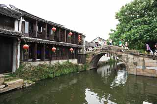photo,material,free,landscape,picture,stock photo,Creative Commons,Zhouzhuang twin bridge, , , ,