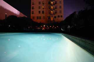 photo,material,free,landscape,picture,stock photo,Creative Commons,Night swimming pool, pool, blue, water, Los Angeles