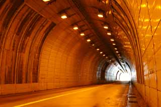 photo,material,free,landscape,picture,stock photo,Creative Commons,Orange color of a tunnel, tunnel, sodium lamp, orange, exit