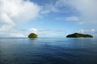 photo,material,free,landscape,picture,stock photo,Creative Commons,It is a rainbow in the horizon, island, The sea, wave, rainbow