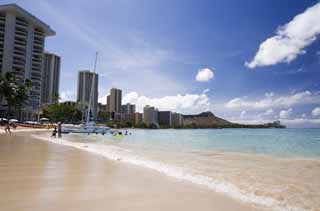 photo,material,free,landscape,picture,stock photo,Creative Commons,Waikiki Beach, sandy beach, beach, wave, blue sky