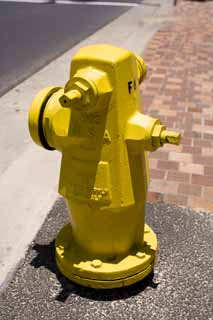photo,material,free,landscape,picture,stock photo,Creative Commons,A USA fire hydrant, fire hydrant, way, Yellow, USA