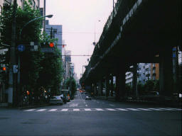 photo,material,free,landscape,picture,stock photo,Creative Commons,Aoyama Street 6:00 p.m., expressway, traffic signal, ,