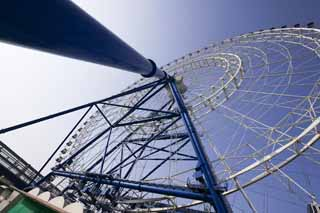 photo,material,free,landscape,picture,stock photo,Creative Commons,A Ferris wheel, Ferris wheel, blue sky, pipe, steel frame