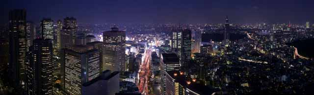photo,material,free,landscape,picture,stock photo,Creative Commons,Shinjuku newly developed city center night view, building, The Tokyo MetropolitGovernment Office, DoCoMo tower, national highway