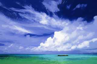 illustration,material,free,landscape,picture,painting,color pencil,crayon,drawing,The sky of a southern country, cloud, The sea, blue sky, Emerald green
