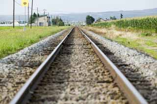 photo,material,free,landscape,picture,stock photo,Creative Commons,Disappearance point of a track, track, railroad, railroad tie, Gravel