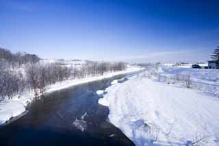 photo,material,free,landscape,picture,stock photo,Creative Commons,The river which can be frozen, river, Water, snowy field, It is snowy