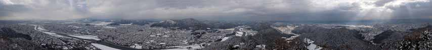 photo,material,free,landscape,picture,stock photo,Creative Commons,A panorama of Gifu, It is snowy, The NagarRiver, Gifu, town