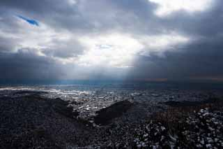 photo,material,free,landscape,picture,stock photo,Creative Commons,A voice of the sky, It is snowy, Light, Gifu, town