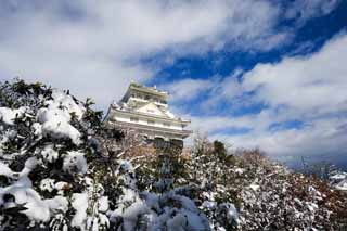 photo,material,free,landscape,picture,stock photo,Creative Commons,Gifu castle, Ishigaki, blue sky, castle, White