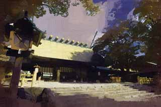 illustration,material,free,landscape,picture,painting,color pencil,crayon,drawing,Atsuta-jingu Shrine, Shinto shrine, Prayer, Shinto, Religion