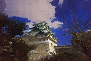 illustration,material,free,landscape,picture,painting,color pencil,crayon,drawing,Nagoya-jo Castle, killer whale pike, castle, The castle tower,
