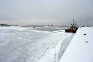 photo,material,free,landscape,picture,stock photo,Creative Commons,The port which freezes, Drift ice, Ice, port, ship