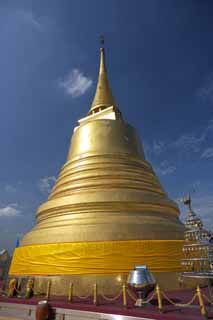 photo,material,free,landscape,picture,stock photo,Creative Commons,A pagoda of Wat Sakhet, temple, pagoda, Gold, Bangkok
