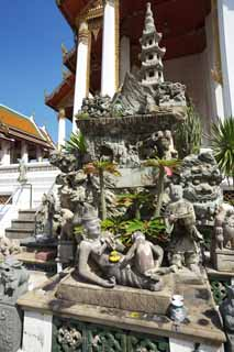 photo,material,free,landscape,picture,stock photo,Creative Commons,A stone statue of Wat Suthat, temple, Buddhist image, stone statue, Bangkok
