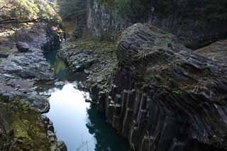 photo,material,free,landscape,picture,stock photo,Creative Commons,Takachiho-kyo Gorge, Ravine, The surface of the water, cliff, natural monument