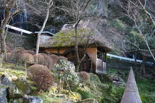 photo,material,free,landscape,picture,stock photo,Creative Commons,A watermill, roof of thatch, thatched roof, waterwheel, Japanese-style building