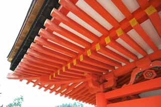 photo,material,free,landscape,picture,stock photo,Creative Commons,A roof of Itsukushima-jinja Shrine, World's cultural heritage, main shrine, Shinto shrine, I am cinnabar red